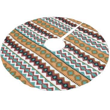 Aztec Themed Earth Tones Tribal Pattern Christmas Tree Skirt