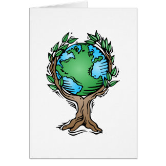 earth tree greeting cards