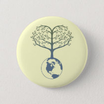 Earth Tree Heart Pinback Button