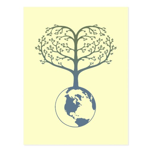 Earth Tree Heart Post Card