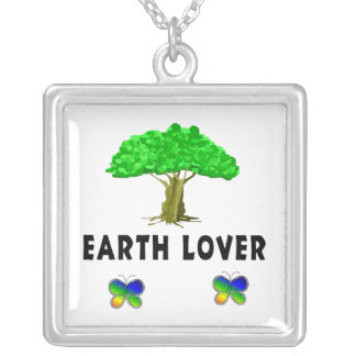 Earth Tree Lover Square Pendant Necklace