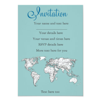 Earth turquoise ink 5x7 paper invitation card