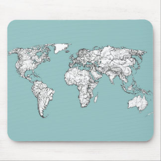 Earth turquoise ink mouse pad