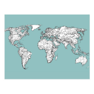 Earth turquoise ink postcards