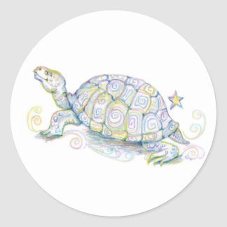 Earth Turtle Classic Round Sticker