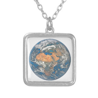 Earth View focused on the Cradle of Civilization Silver Plated Necklace