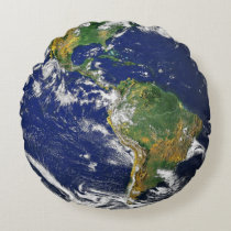 earth view from space round pillow
