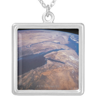 Earth Viewed from Space Square Pendant Necklace