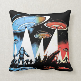 Earth vs the UFO Throw Pillow