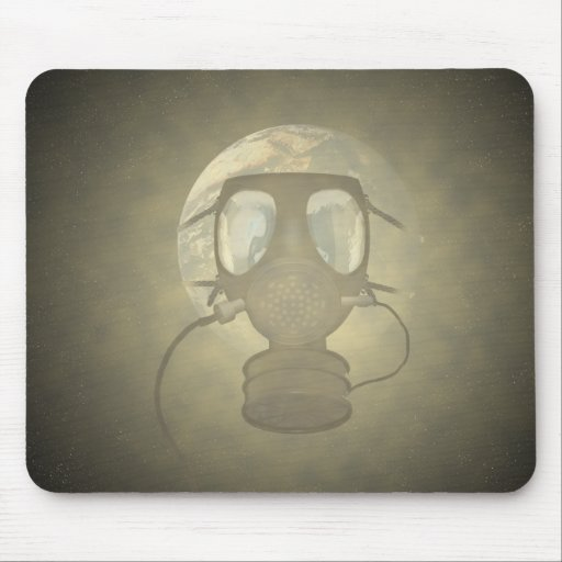 Earth wearing a gas mask mouse pad
