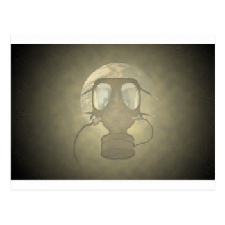 Earth wearing a gas mask postcard