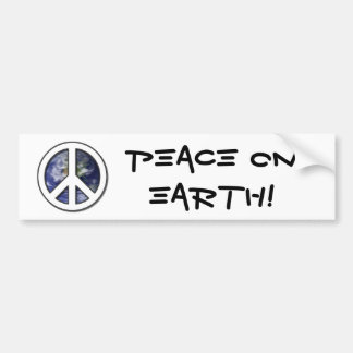 Earth White Peace Sign7 Car Bumper Sticker