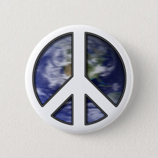 Earth White Peace Sign7 Button