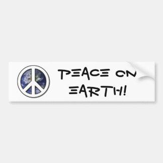 Earth White Peace Sign7 Car Bumper Sticker