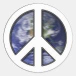 Earth White Peace Sign7 Classic Round Sticker