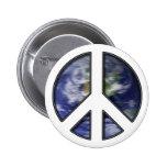 Earth White Peace Sign7 Pinback Button
