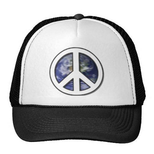 Earth White Peace Sign7 Trucker Hat