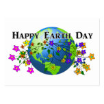 Earth with Flowers Large Business Cards (Pack Of 100)