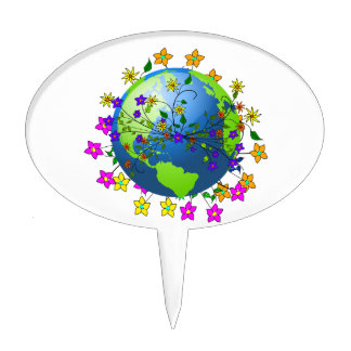 Earth with Flowers - Earth Day Cake Topper