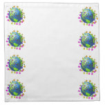 Earth with Flowers - Earth Day Napkin