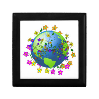 Earth with Flowers Keepsake Box