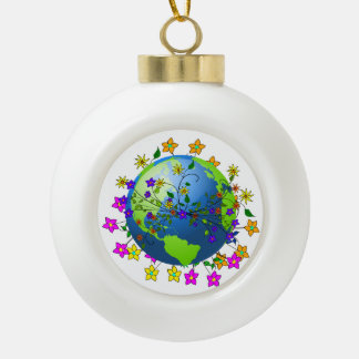 Earth with Flowers Ornament