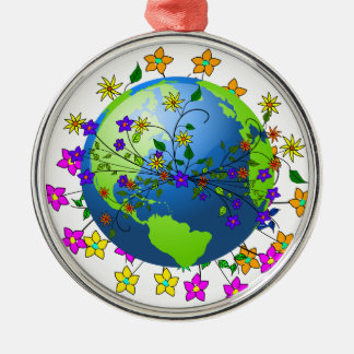 Earth with Flowers Christmas Ornament