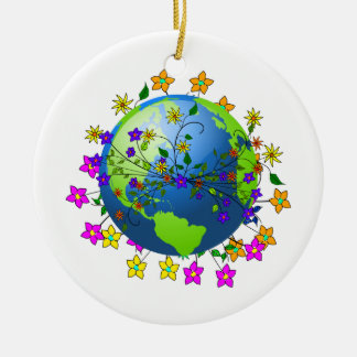 Earth with Flowers Christmas Tree Ornament