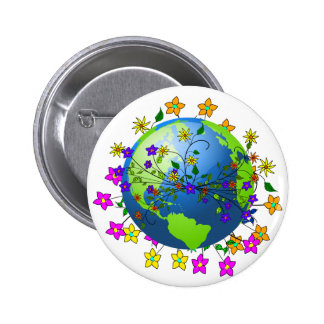 Earth with Flowers Pinback Button