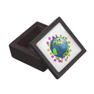 Earth with Flowers Premium Trinket Box