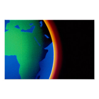 Earth with glowing atmosphere poster