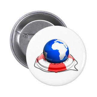 earth with life belt pinback button