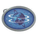 earth with rings belt buckle