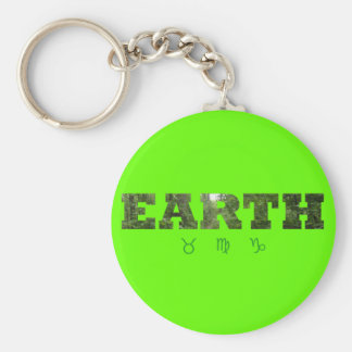 Earth with Zodiac Signs Basic Round Button Keychain