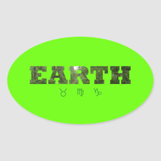 Earth with Zodiac Signs Oval Sticker
