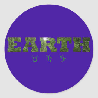 Earth with Zodiac Signs Round Sticker