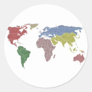 earth world cloth round stickers