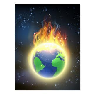 Earth World Globe on Fire Postcard