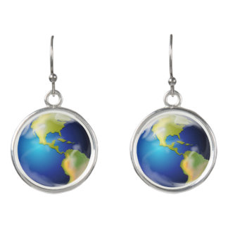 Earth World Planet Design Drop Earrings