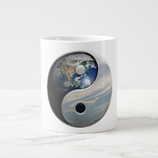Earth Yin and Yang Symbol Giant Coffee Mug