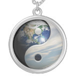 Earth Yin and Yang Symbol Round Pendant Necklace