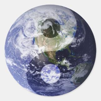 Earth Yin • Yang Classic Round Sticker