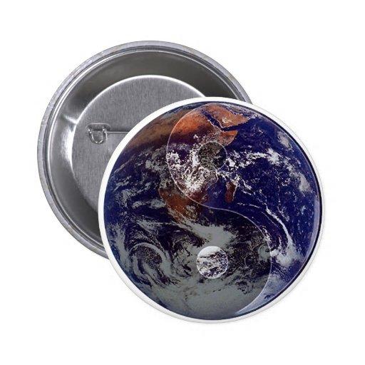 Earth Yin Yang Pinback Buttons