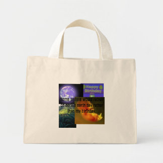 earthday, birthday, prolife mini tote bag