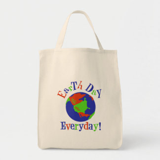 earthday everyday grocery tote bag