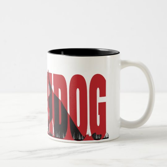 Earthdog Black/Red silhouette Two-Tone Coffee Mug