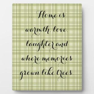 "Earthen Green Plaid, ""Home"" Plaque"