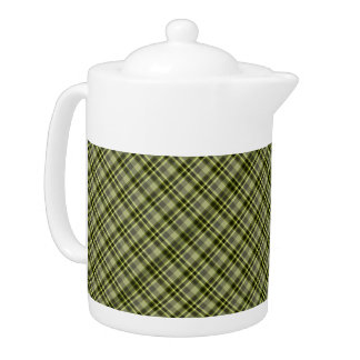 Earthen Green Plaid Large Beverage Pot Teapot