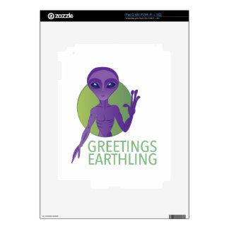 Earthling de los saludos skins para iPad 2