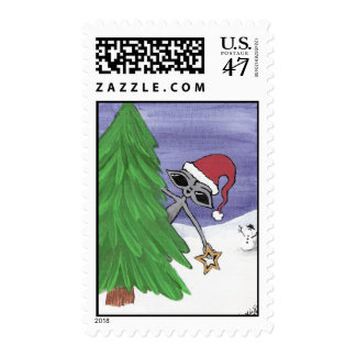 Earthlings de las Felices Navidad extranjeros Sello